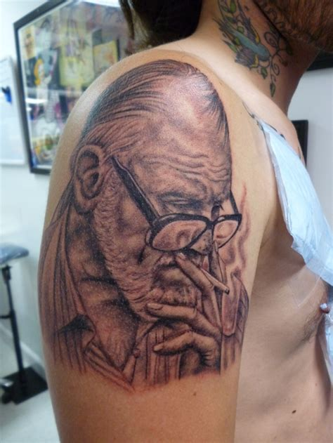 charlie tattoo amazing george romero portrait by joel at charlies