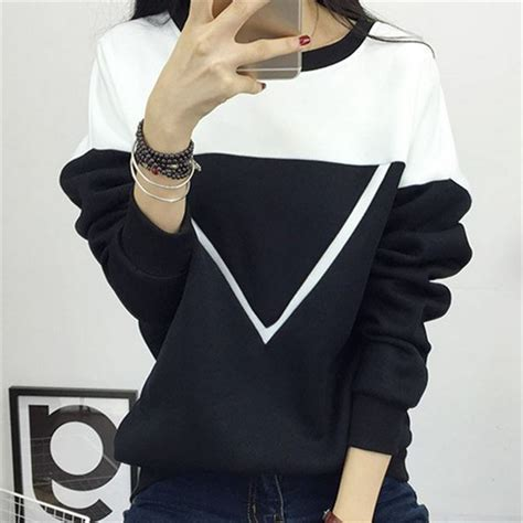 black and white pattern hoodie 2017 winter new fashion black and white spell color