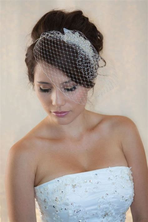 wedding hair with small veil wedding veil 2017 beading bridal veil birdcage