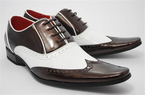 photos of shoes mens patent shiny spats brogues gatsby shoes white brown 6