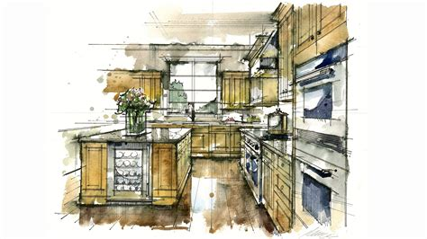 How To Draw A Floor Plan By Hand tutorial hand rendering rapid watercolor kitchen