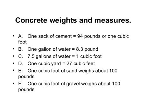 Weight Of 1 Cubic Yard Of Gravel Estimating Concrete Material Cost Course 01421 6 4