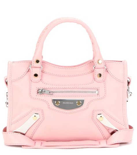 Balenciaga Metal Front Tote by Balenciaga Mini City Metal Plate Leather Tote In Pink