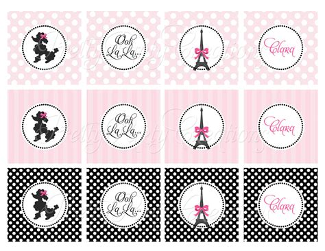 paris cupcake toppers u print poodle or couple for