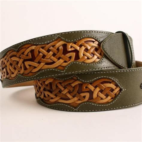 Handcrafted Leather Belts - handmade leather belt celtic belt green belt tooled