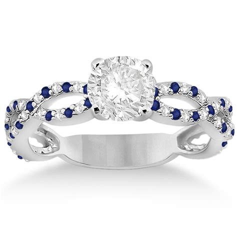 pave blue sapphire infinity eternity engagement