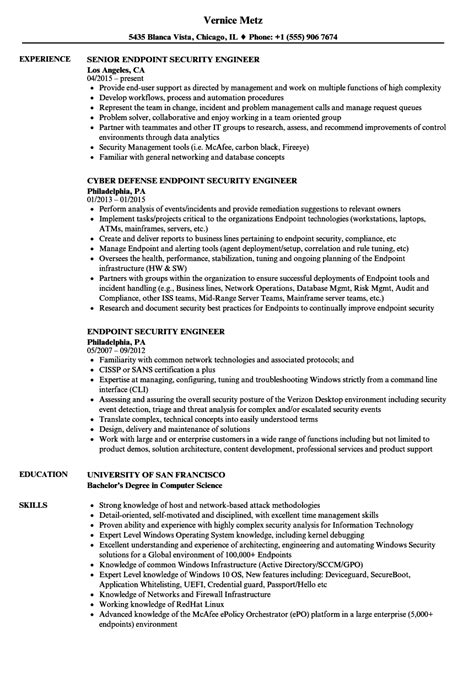 security engineer resume sle endpoint security engineer resume sles velvet