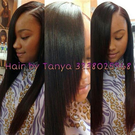 sew in tracks hairstyles laid side part sew in by tanya hair pinterest her