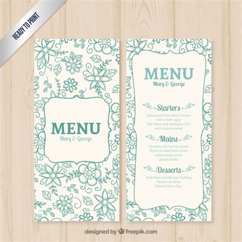 free wedding menu template floral wedding menu template vector free