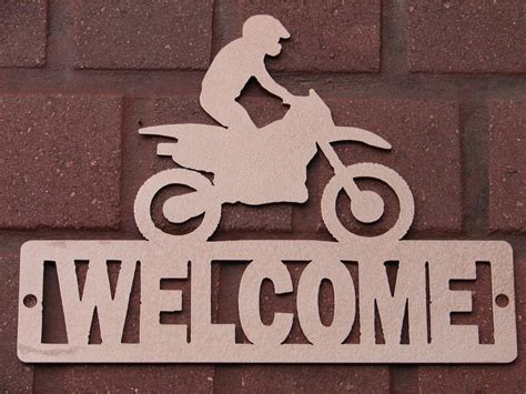 welcome home decor dirt bike welcome sign home decor plaque moto suzuki honda