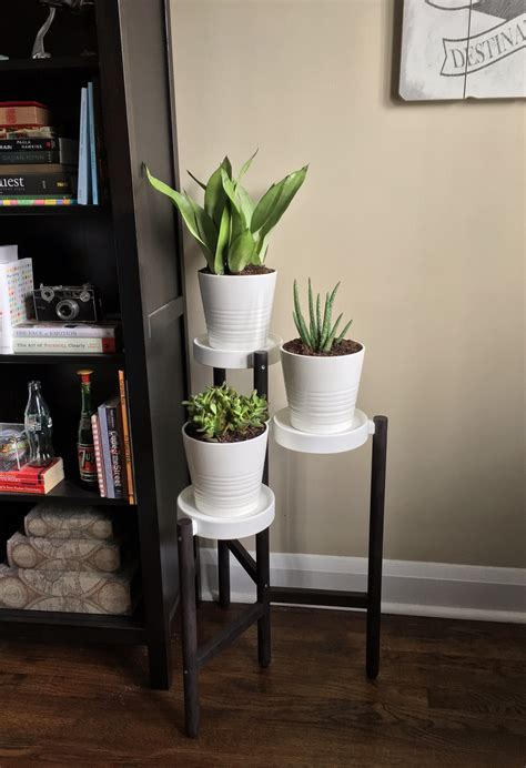 ikea satsumas plant stand hack painted  drab bamboo