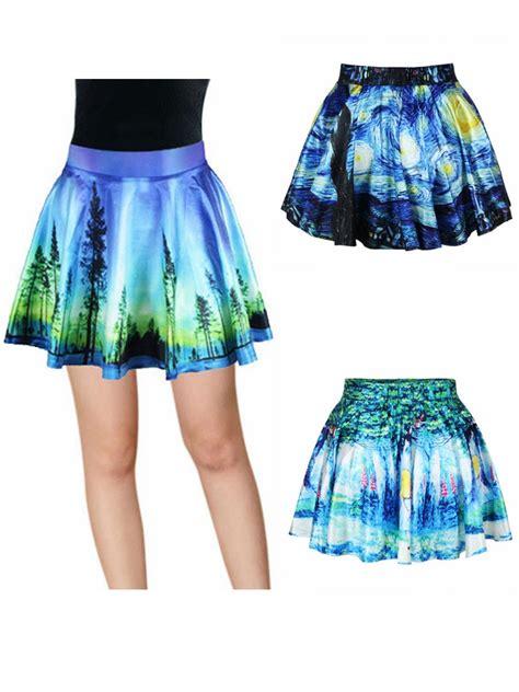 flower patterned mini skirt women vintage high waist pleated floral short mini skirt