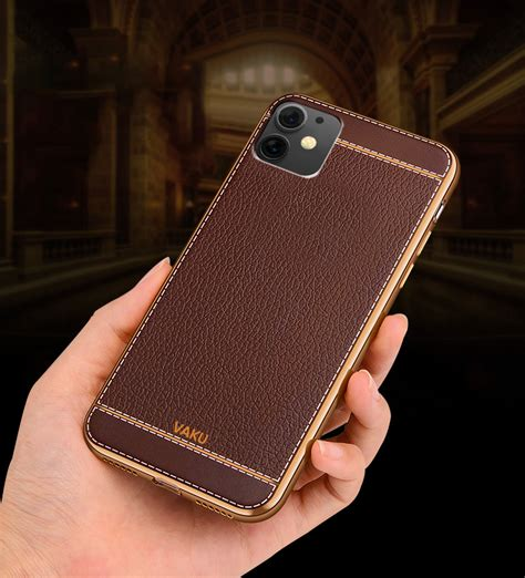 vaku apple iphone  leather stitched gold electroplated