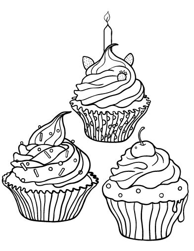 free cupcake coloring page