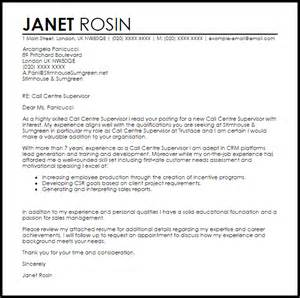 supervisor cover letter exle call centre supervisor cover letter sle livecareer