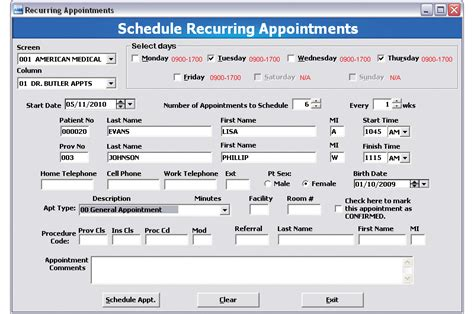 Appointment Scheduling With Open Encounter Tracking Ob Gyn Office Schedule Template