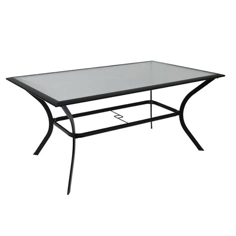 Patio Table Glass Top Shop Garden Treasures Cascade Creek Glass Top Black Rectangle Patio Dining Table At Lowes