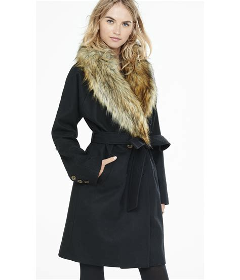 Faux Fur Collar Coat fur collar coat jacketin