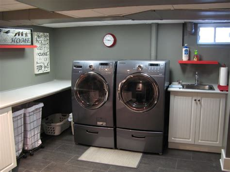 basement laundry room remodel basement traditional laundry room montreal by construction havitat