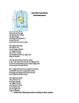 I Why The Caged Bird Sings Worksheet by Response To I Why The Caged Bird Sings By Ms