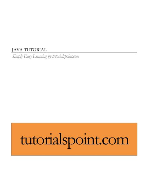 tutorialspoint for java java tutorial tutorialspoint