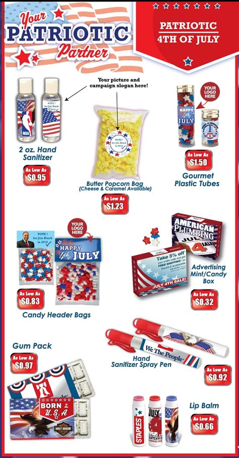 jem promotions promotional products promotional party invitations ideas - Patriotic Giveaways