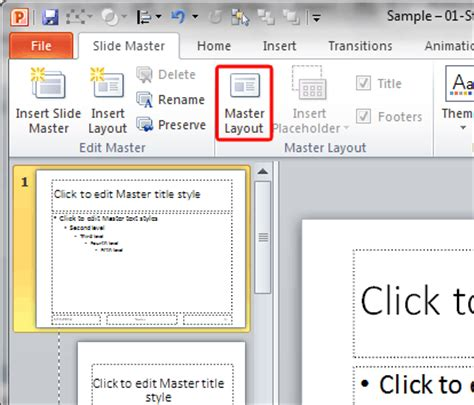 layout master powerpoint definition slide numbers within slide master in powerpoint 2010