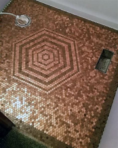 1 Pence Coin Floor - top 60 best floor design ideas copper coin flooring