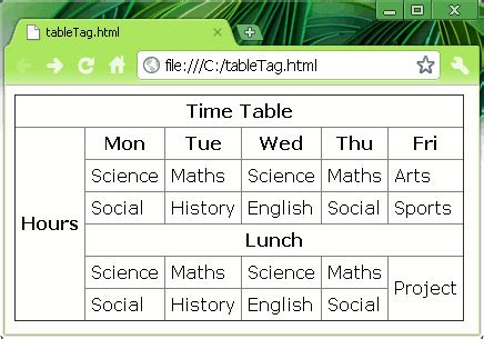 Table Tag Html by Html Way Colspan Rowspan With Html Table