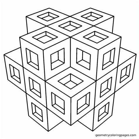Coloring Page 3d by Geometric Coloring Pages For Adults Coloring Home