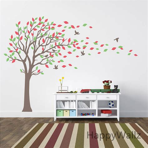 Large Nursery Wall Decals Large Tree Wall Stickers Baby Nursery Tree Wall Decals Leaves Birds Family Tree Wallpaper