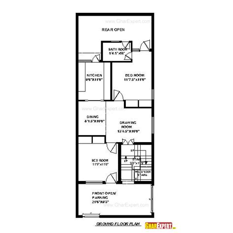 House Plan For 24 Feet By 60 Feet Plot Plot Size160 24 X 80 House Plans