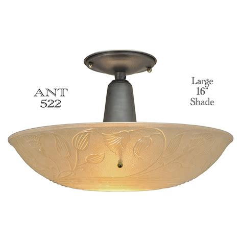 Vintage Light Fixtures For Sale Large Antique Ceiling Bowl Light Fixture With 16 Diameter Lens Shade Ant 522 For Sale