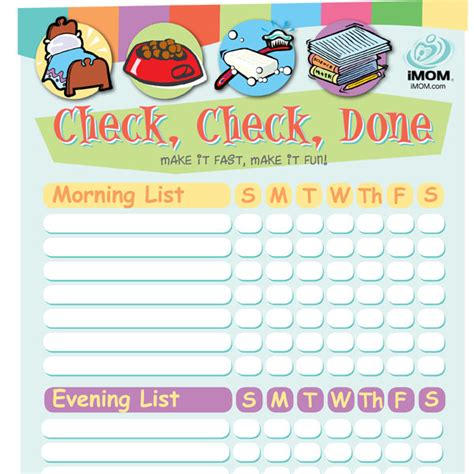 Check, Check Done Checklist for Kids   Printable Template