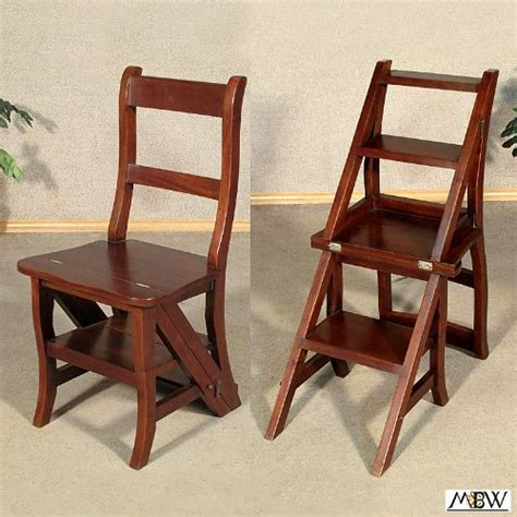 Library Chair Step Stool by Walnut Convertible Ladder Chair Library Step Stool From