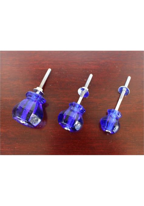 Blue Glass Drawer Knobs by 1 25 Quot Cobalt Blue Glass Cabinet Knobs Pulls Vintage