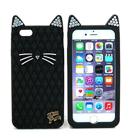 Iphone 6 Plus Soft 3d Cat Ears Sarung Casing so ear bling bling cat purry silicone for apple iphone 6 plus iphone 6 plus black