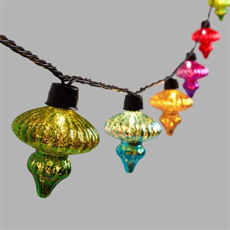 Multicolor Mercury Glass Finial 10 Bulb String Lights Glass String Lights