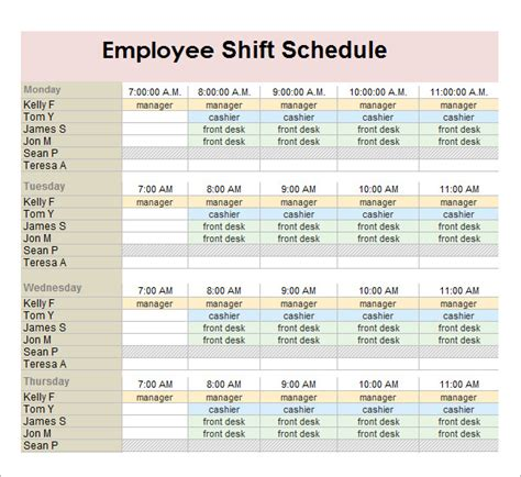 4 employee work schedule template authorization letter
