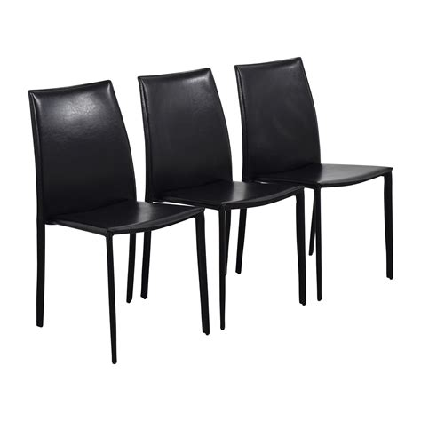 Inmod Chair by 87 Inmod Inmod Manta Black Leather Stacking Chairs