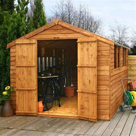 12x8 overlap wooden shed window door apex roof felt garden sheds 12ft 8ft