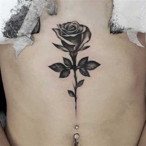 single rose tattoo design 75 sternum ideas yours