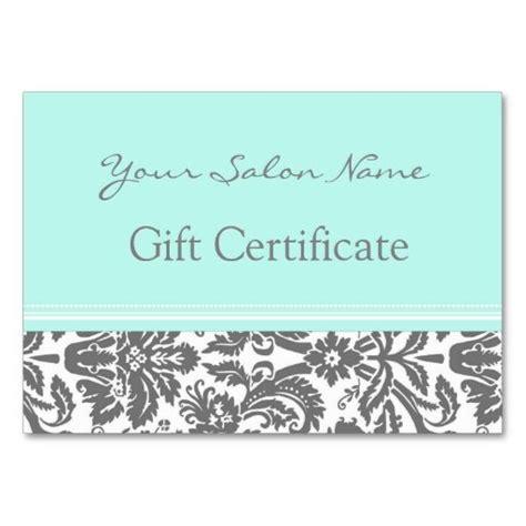 salon gift certificate template salon gift certificate aqua grey damask