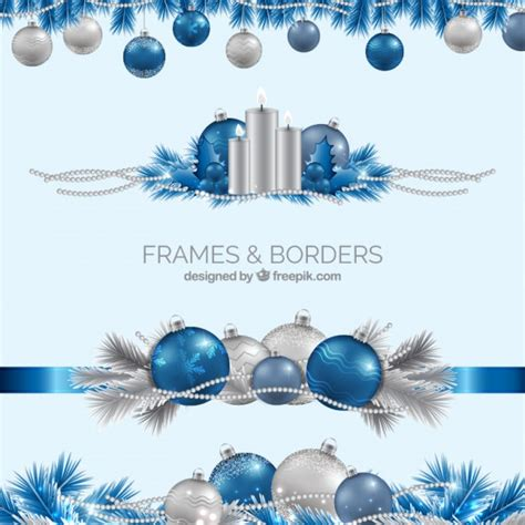realistic blue and silver christmas borders vector free