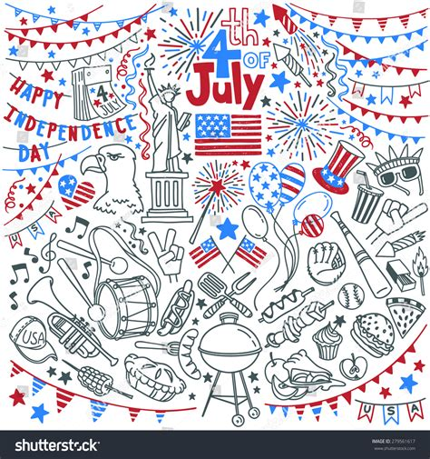 doodle god independence day in a american independence day themed doodle set stock vector