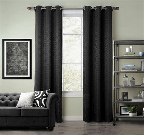 black curtain panel pair of kerry jacquard black blackout window curtain