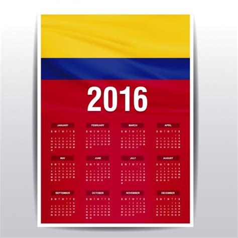 calendario de colombia de 2016 descargar vectores gratis