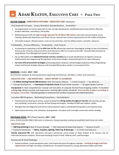Executive Chef Resume Template by Sle Resume Executive Chef Position