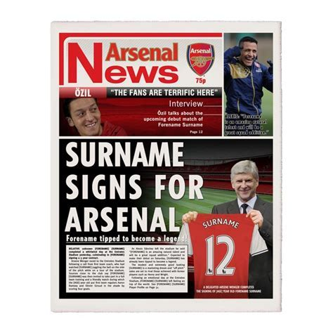 Personalised Arsenal FC Newspaper   Love My Gifts