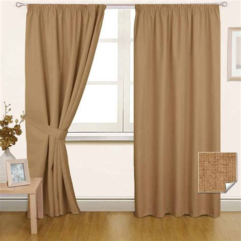 curtains cream and brown thermal blackout pencil pleat ready made curtain black